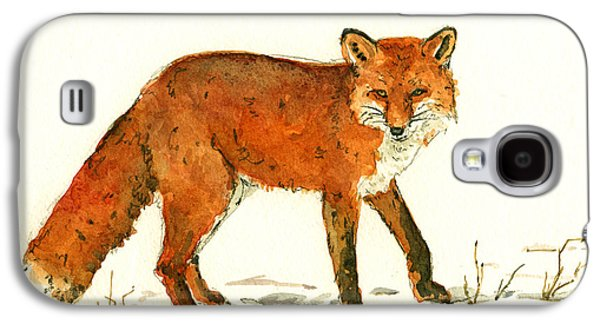 Red Fox In The Snow Galaxy S4 Case by Juan  Bosco