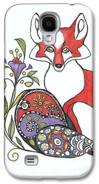 Red Fox With Paisley Tail Galaxy S4 Case by Peggy Wilson