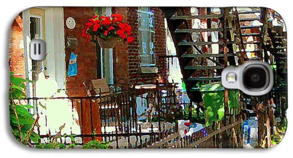 Red Geraniums Verdun Winding Staircases Hanging Flower Basket Montreal Porch Scene Carole Spandau Galaxy S4 Case