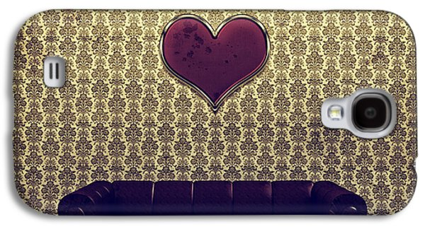 Red Heart And Purple Couch In A Gold Victorian Room Galaxy S4 Case
