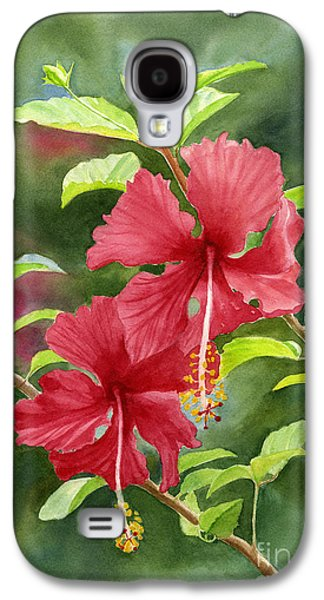 Red Hibiscus With Background Galaxy S4 Case by Sharon Freeman