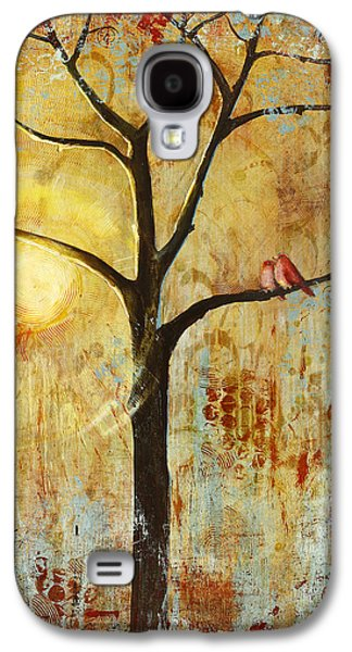 Red Love Birds In A Tree Galaxy S4 Case by Blenda Studio