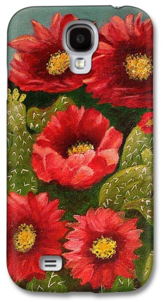 Red Prickley Pear Cactus Flower Galaxy S4 Case by Janis  Tafoya