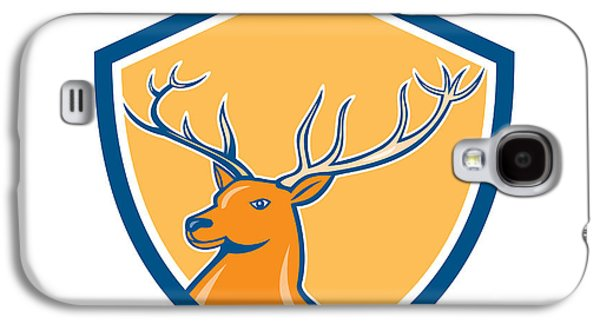 Red Stag Deer Head Shield Cartoon Galaxy S4 Case by Aloysius Patrimonio