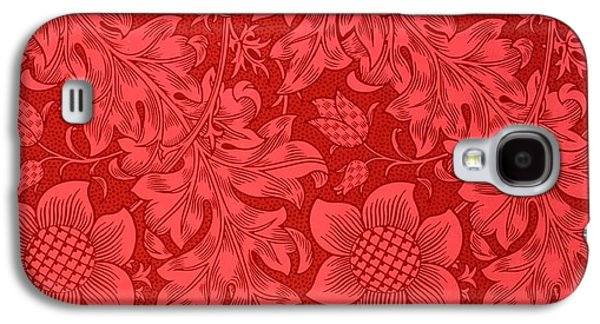 Red Sunflower Wallpaper Design, 1879 Galaxy S4 Case by William Morris