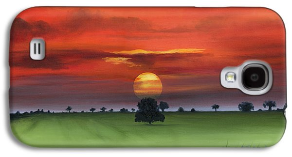 Red Tuscan Sunrise With Poppy Field Galaxy S4 Case