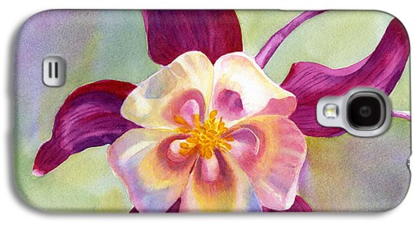 Red Violet Columbine With Background Galaxy S4 Case by Sharon Freeman