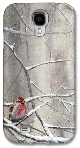Crossbill Galaxy S4 Case - Redpoll Eyeing The Feeder - 1 by Karen Whitworth