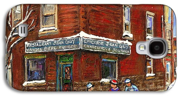 Restaurant Epicerie Jean Guy Pointe St. Charles Montreal Art Verdun Winter Scenes Hockey Paintings   Galaxy S4 Case by Carole Spandau