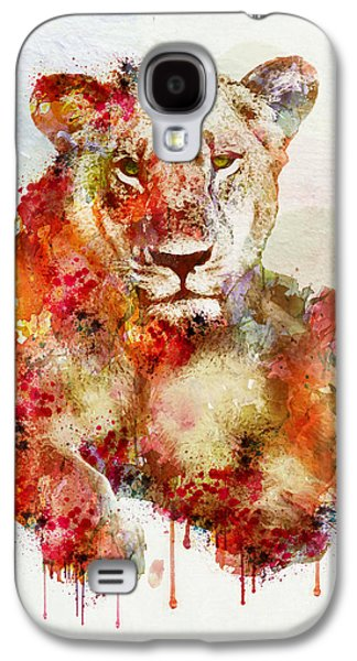 Resting Lioness In Watercolor Galaxy S4 Case by Marian Voicu