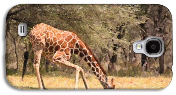 Reticulated Giraffe Drinking At Waterhole Kenya Galaxy S4 Case by Liz Leyden
