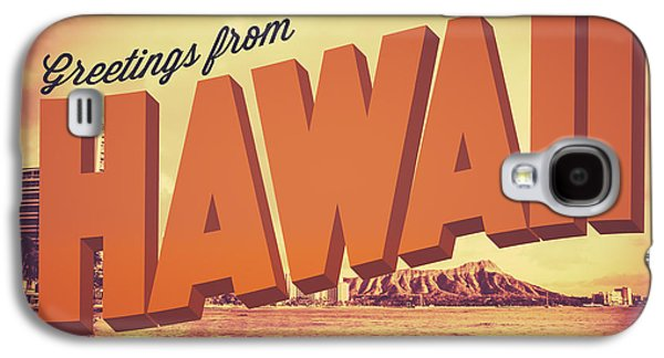 Retro Greetings From Hawaii Postcard Galaxy S4 Case by Mr Doomits