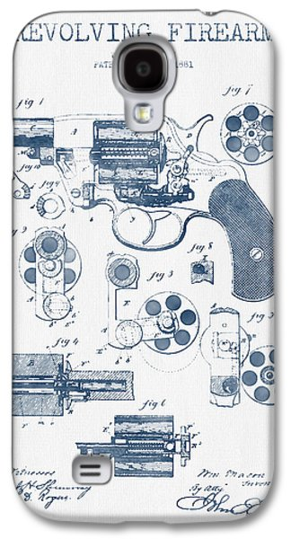Revolving Firearm Patent Drawing From 1881 -  Blue Ink Galaxy S4 Case by Aged Pixel