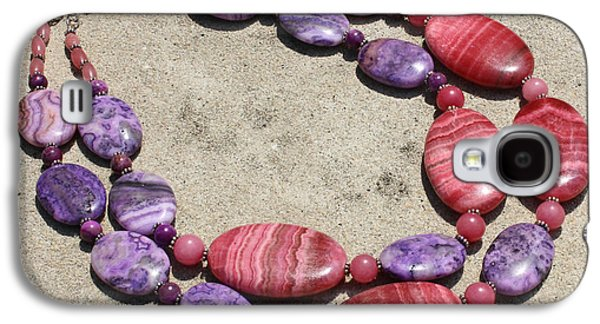 Rhodonite And Crazy Lace Agate Double Strand Chunky Necklace 3636 Galaxy S4 Case