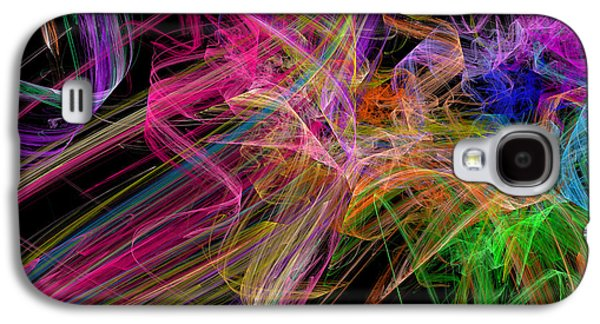 Ribbons And Curls Black - Abstract - Fractal Galaxy S4 Case by Andee Design