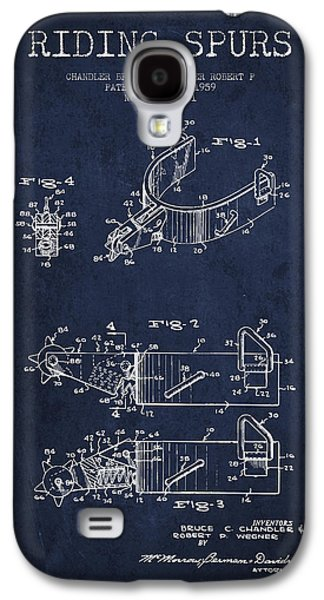 Riding Spurs Patent Drawing From 1959 - Navy Blue Galaxy S4 Case by Aged Pixel
