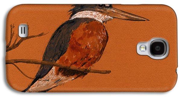 Ringed Kingfisher Bird Galaxy S4 Case by Juan  Bosco