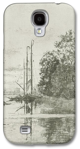 River View With Two Ships And A Barge, Fredericus Jacobus Galaxy S4 Case by Fredericus Jacobus Van Rossum Du Chattel