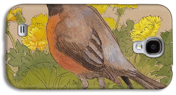 Robin In The Dandelions Galaxy S4 Case by Tracie Thompson