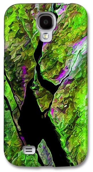 Nature Abstract Galaxy S4 Cases - Rock Art 17 in Green Galaxy S4 Case by Bill Caldwell -        ABeautifulSky Photography