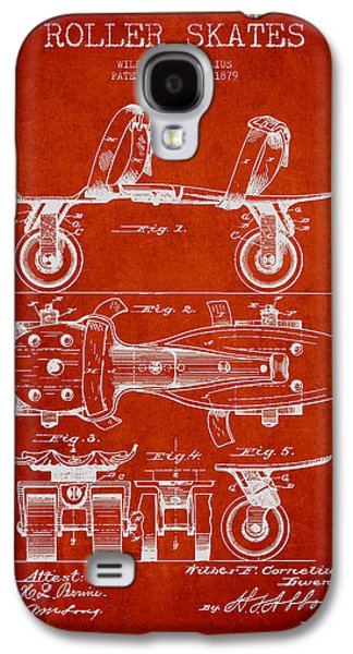 Roller Skate Patent Drawing From 1879 - Red Galaxy S4 Case