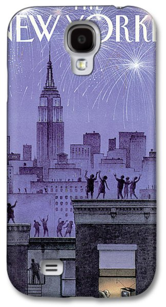 Rooftop Revelers Celebrate New Year's Eve Galaxy S4 Case by Harry Bliss
