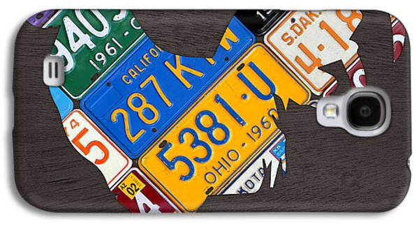 Rooster Recycled License Plate Art On Gray Wood Galaxy S4 Case