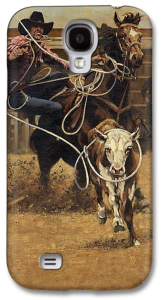 Rodeo Roping Young Steer Galaxy S4 Case by Don  Langeneckert