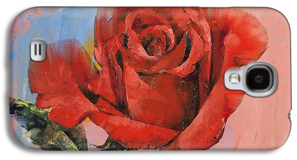 Rose Painting Galaxy S4 Case by Michael Creese