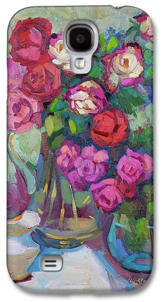 Roses In Two Vases Galaxy S4 Case by Diane McClary