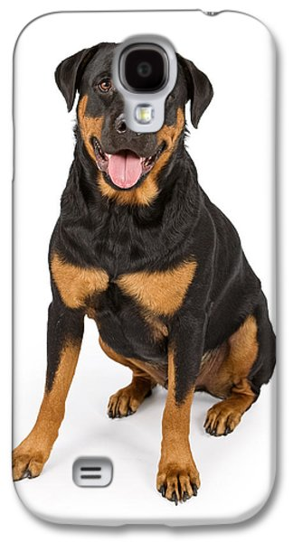 Rottweiler Dog Isolated On White Galaxy S4 Case by Susan Schmitz