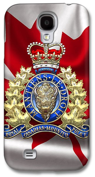 Royal Canadian Mounted Police - Rcmp Badge Over Waving Flag Galaxy S4 Case by Serge Averbukh