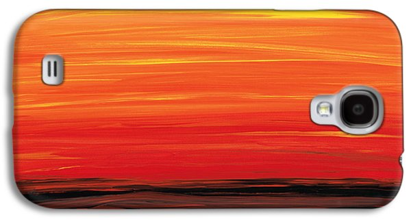 Ruby Shore - Red And Orange Abstract Galaxy S4 Case by Sharon Cummings
