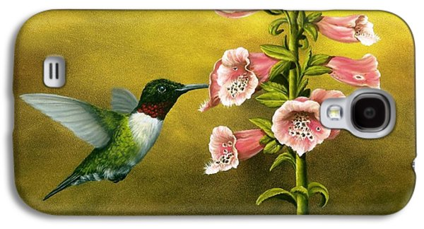 Ruby Throated Hummingbird And Foxglove Galaxy S4 Case