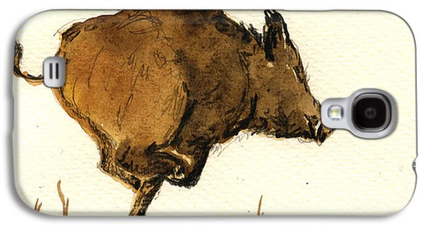 Pig Galaxy S4 Case - Running Wild Boar by Juan  Bosco
