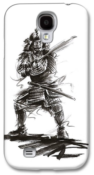 Samurai Complete Armor Warrior Steel Silver Plate Japanese Painting Watercolor Ink G Galaxy S4 Case by Mariusz Szmerdt