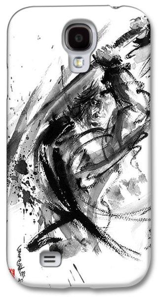 Samurai Ronin Wild Fury Bushi Bushido Martial Arts Sumi-e Original Ink Painting Artwork Galaxy S4 Case by Mariusz Szmerdt