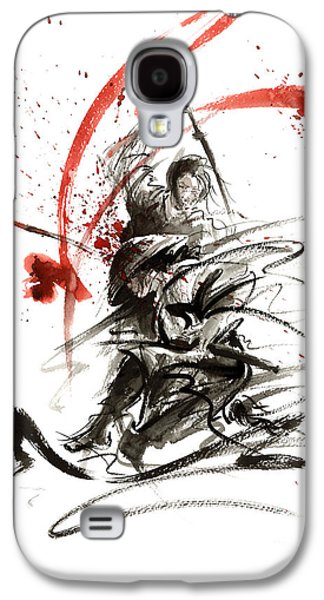 Samurai Sword Black White Red Strokes Bushido Katana Martial Arts Sumi-e Original Fight Ink Painting Galaxy S4 Case by Mariusz Szmerdt