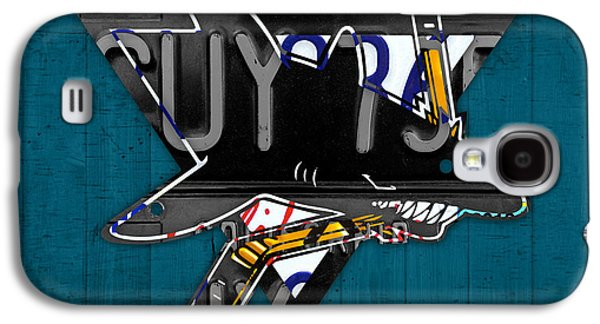 San Jose Sharks Hockey Team Retro Logo Vintage Recycled California License Plate Art Galaxy S4 Case by Design Turnpike