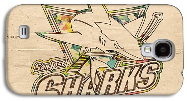 Sharks Galaxy S4 Case - San Jose Sharks Vintage Poster by Florian Rodarte