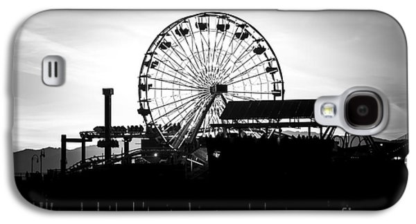 Santa Monica Ferris Wheel Black And White Photo Galaxy S4 Case by Paul Velgos