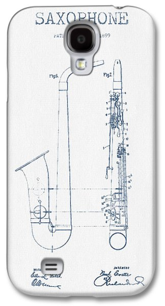 Saxophone Patent Drawing From 1899 - Blue Ink Galaxy S4 Case by Aged Pixel