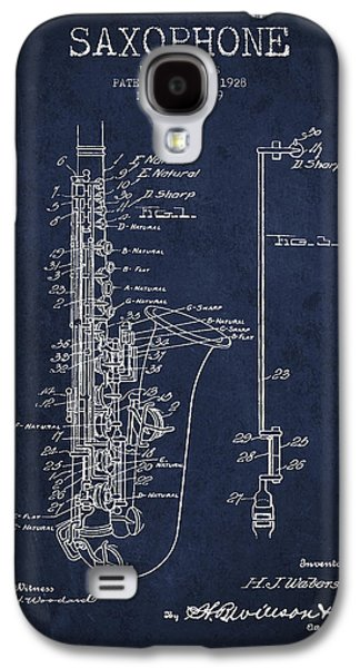 Saxophone Galaxy S4 Case - Saxophone Patent Drawing From 1928 by Aged Pixel