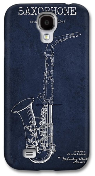 Saxophone Patent Drawing From 1937 - Blue Galaxy S4 Case by Aged Pixel