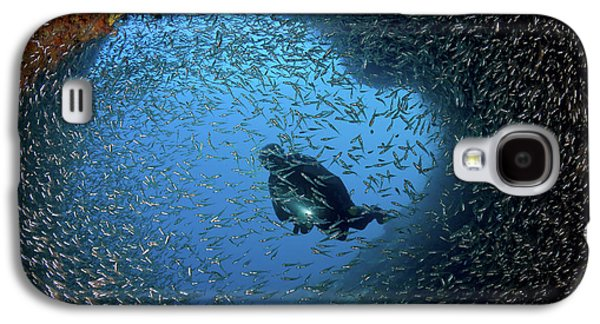 Schooling Baitfish And Diver At Cave Galaxy S4 Case by Jaynes Gallery