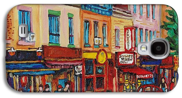 Schwartzs Deli And Warshaw Fruit Store Montreal Landmarks On St Lawrence Street  Galaxy S4 Case by Carole Spandau