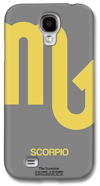 Scorpio Zodiac Sign Yellow On Grey Galaxy S4 Case by Naxart Studio