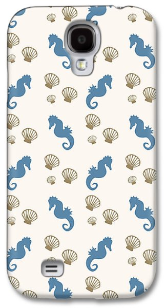 Seahorse And Shells Pattern Galaxy S4 Case by Christina Rollo