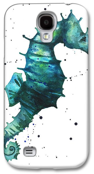 Seahorse In Teal Galaxy S4 Case by Alison Fennell