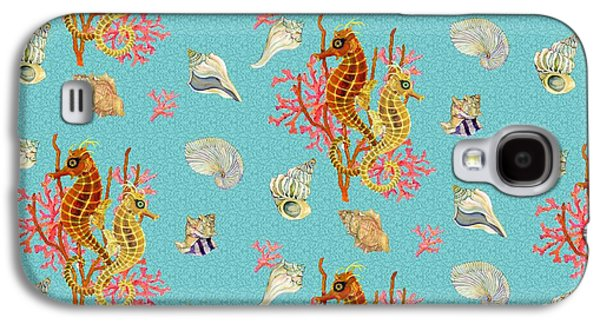 Seahorses Coral And Shells Galaxy S4 Case by Kimberly McSparran